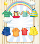 Washed clothes hanging under the heat of the sun — Stock Vector