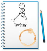A notebook with a person playing hockey at the cover page — Stock Vector