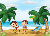 Two monkeys wearing a hawaiian attire — Stock Vector
