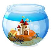 An aquarium with a castle — Stock Vector