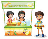 Kids at the stall selling refreshing drinks — Stock Vector