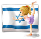 A gymnast in front of the Israel flag — Stock Vector