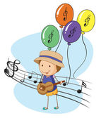 A young musician with balloons at the back — Stock Vector