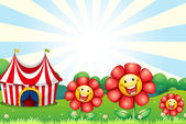 Three plastic flowers and a tent at the top of the hill — Stock Vector