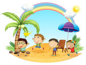 четырех мальчиков, имеющих выход на пляже — Cтоковый вектор