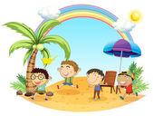 四个男孩在海滩上有郊游 — 图库矢量图片