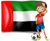 The UAE flag and the male athlete — Stock Vector