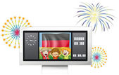 The flag of Germany inside a scoreboard with three kids — Stock Vector