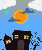 A full moon and the haunted house — Stock Vector
