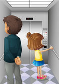 An elevator with a man and a young girl — Stock Vector