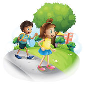 A girl and a boy walking along the street — Stock Vector