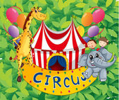 A circus tent with animals and kids — Stock Vector