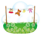 Baby things hanging above the weeds — Stock Vector