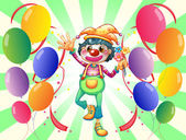 A female clown in the middle of the balloons — Stock Vector