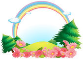 The colorful rainbow at the hilltop — Stock Vector