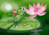 A frog above the waterlily — Stock Vector