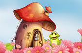 A frog near the mushroom house with a garden of flowers — Stock Vector