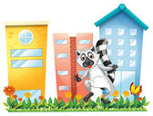 A lemur at the garden near the tall buildings — Stock Vector