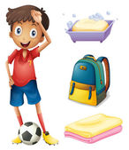 A soccer player with his backpack and bathroom stuffs — Stock Vector