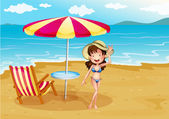 A woman wearing a stripe swimsuit at the beach — Stock Vector