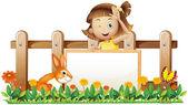 Una chica sosteniendo una pancarta enmarcada vacía con un conejo cerca de woo — Vector de stock