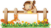 Woo yakınındaki bir tavşan ile boş bir çerçeveli banner tutan bir kız — Stok Vektör