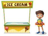 Een jongen verkopen ijs voor de zomer — Stockvector