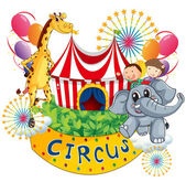 A circus show with kids and animals — Stock Vector