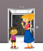 A mother and his son at the elevator — Stock Vector