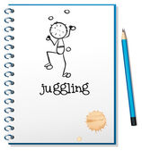 A notebook with a person juggling at the cover page — Stock Vector