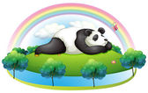 An island with a big panda sleeping — Stock Vector