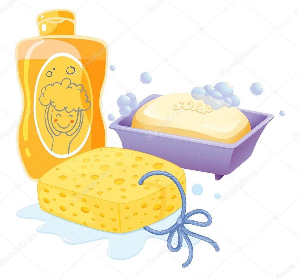 Imagenes De Jabon De Baño:Ilustración de una esponja, un jabón y champú sobre un fondo blanco