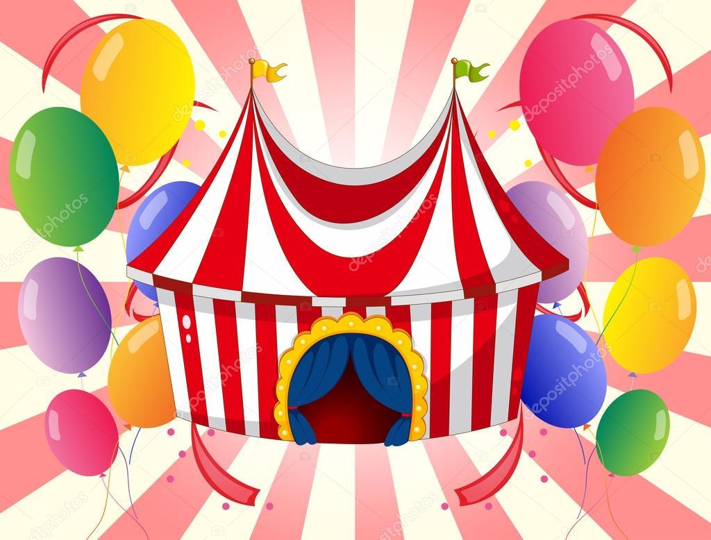 Un chapiteau de cirque rouge avec ballons color s image vectorielle interactimages 23027998 - Dessin d un chapiteau de cirque ...