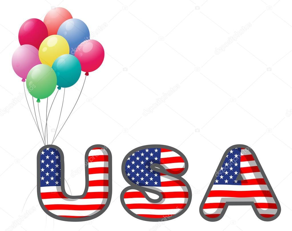 Briefe Usa : Die usa briefe mit bunten luftballons — stockvektor
