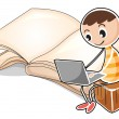 Stock Vector: A young boy with a laptop near the big book