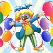 A male clown and the twelve balloons - Stock Vector