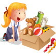 A girl with a box of toys — Stock Vector