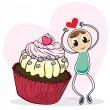A cupcake and a sketch of a man with a red heart - Stock Vector
