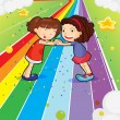 Two girls holding their hands at the colorful road — Stock Vector