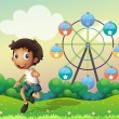 A boy in front of a ferris wheel — Stock Vector