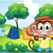 A monkey in front of the hanging clothes at the hill - Stock Vector