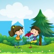 A boy and his girlfriend at the hill — Stock Vector