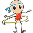 A sketch of a child playing hula hoop - Stock Vector