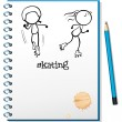 A notebook with a sketch of two skating — Stock Vector