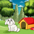 A white puppy outside his doghouse — Stock Vector