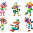Six different clown costumes — 图库矢量图片