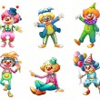 Six different clown costumes — Stock Vector