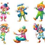 sex olika clown kostymer — Stockvektor