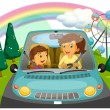 A mother driving the car with her daughter — Stock Vector