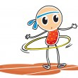 A sketch of a young girl with a hula hoop — Stock Vector